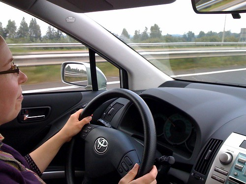 Aukje aan het rijden
