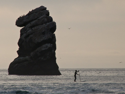 Stand-up Paddle (SUP) Surfer at Pillar Rock (just north of Morro Rock)