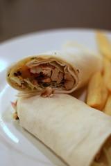 spring roll(0.0), produce(0.0), dim sum food(1.0), taquito(1.0), sandwich wrap(1.0), lumpia(1.0), tortilla(1.0), egg roll(1.0), food(1.0), dish(1.0), cuisine(1.0), burrito(1.0),