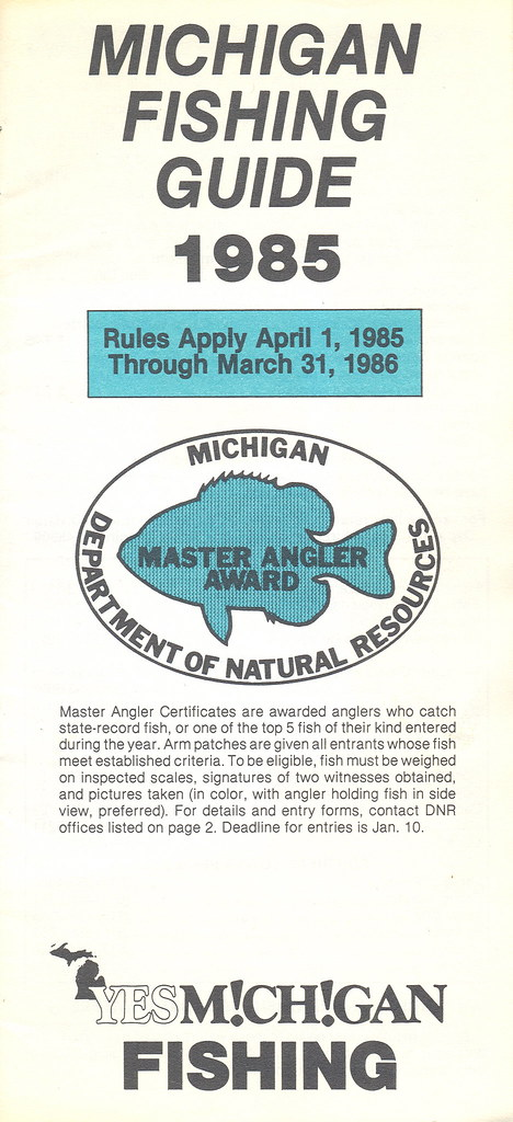 1985 michigan vintage fishing license law digest guide for Michigan fishing regulations