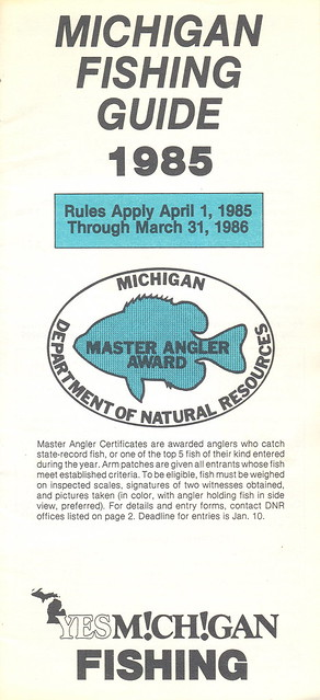 1985 michigan vintage fishing license law digest guide for Fishing license mi