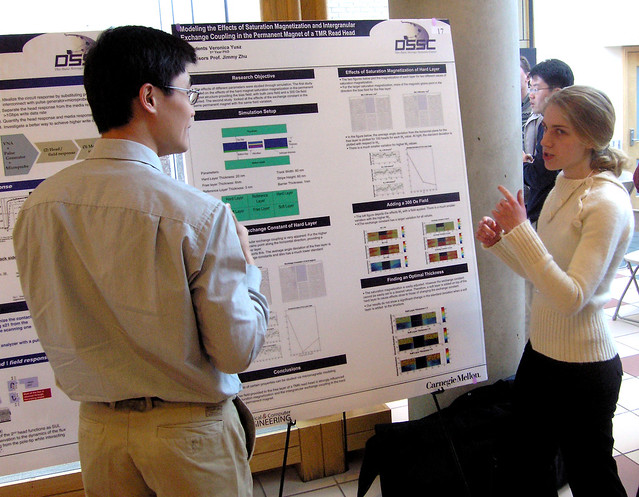 ECE researchers discuss a DSSC project.