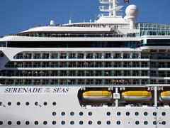 Waving cruise ship passengers