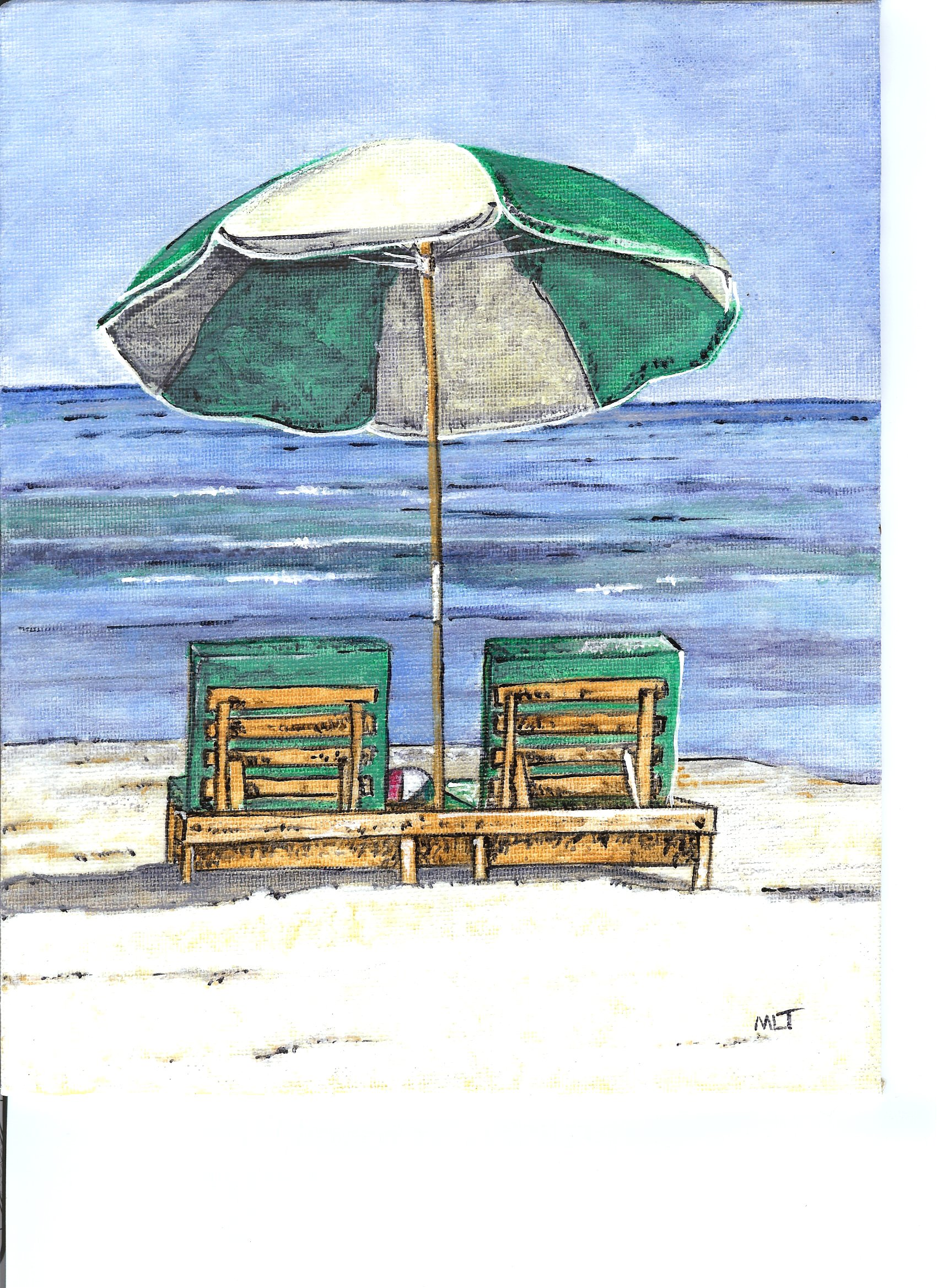 Beach chair with umbrella painting - Gallery For Gt Beach Umbrella Drawing