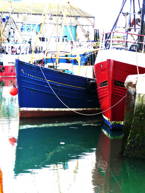 Hulls of red, white and blue