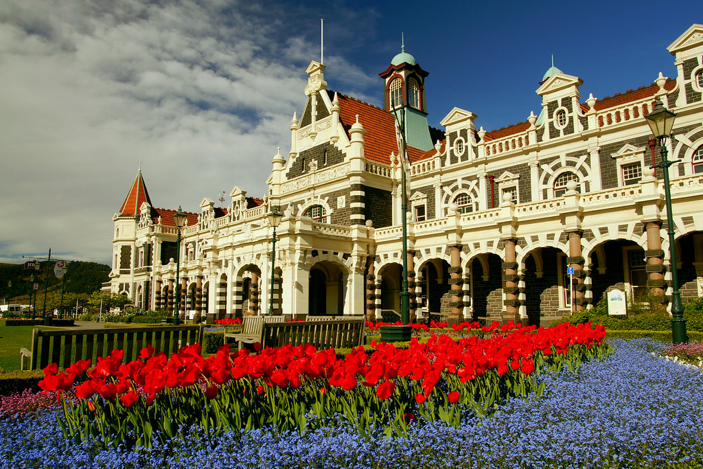 Dunedin Railway Station In Spring