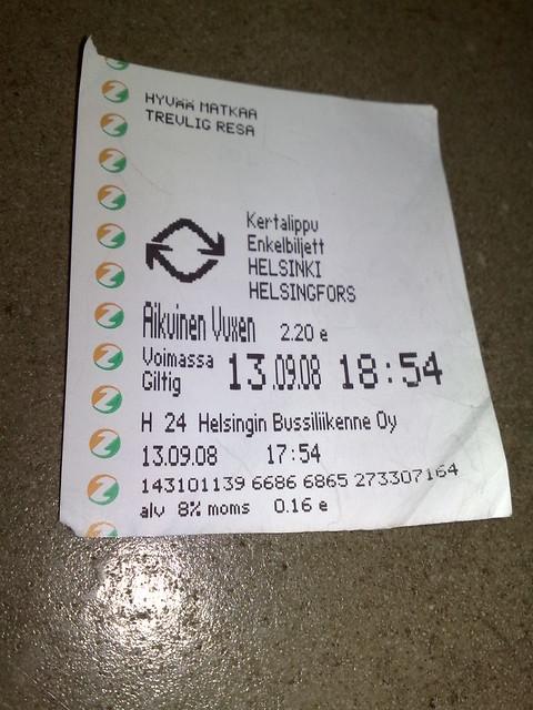 Billete de autobús en Helsinki