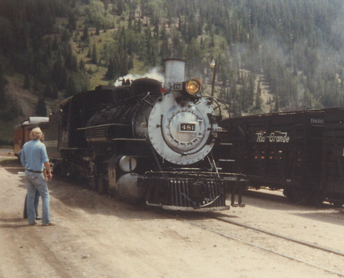 Durango & Silverton Railroad steam locomotive # 481 arriving at Silverton Colorado. July 1981. by Eddie from Chicago