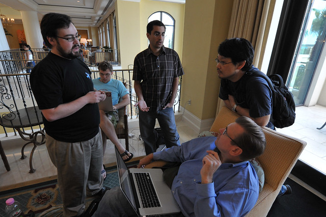 Yehuda Katz, Matt Aimonetti, Jim Freeze and Matz during RubyConf 2008 by Obie Fernandez