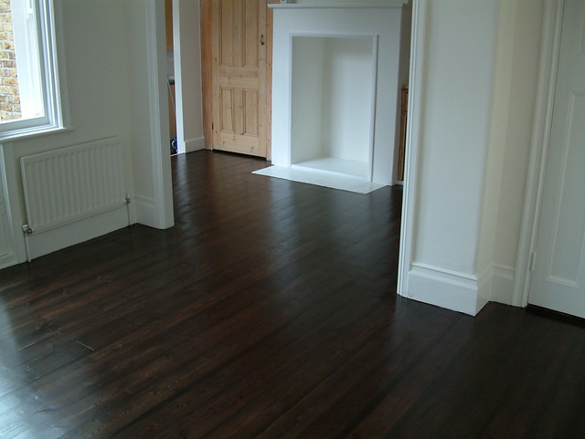 Old Pine Floor Sanded Stained Dark Oak 3 Coats Satin