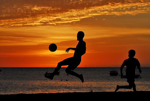 Football in sunset