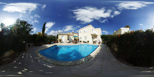 flowers blue trees sky panorama sun house water pool clouds swim table cyprus sunshade swimmingpool backgarden ripples 360x180 paphos pafos spiv 360degrees equirectangular stitcherexpress