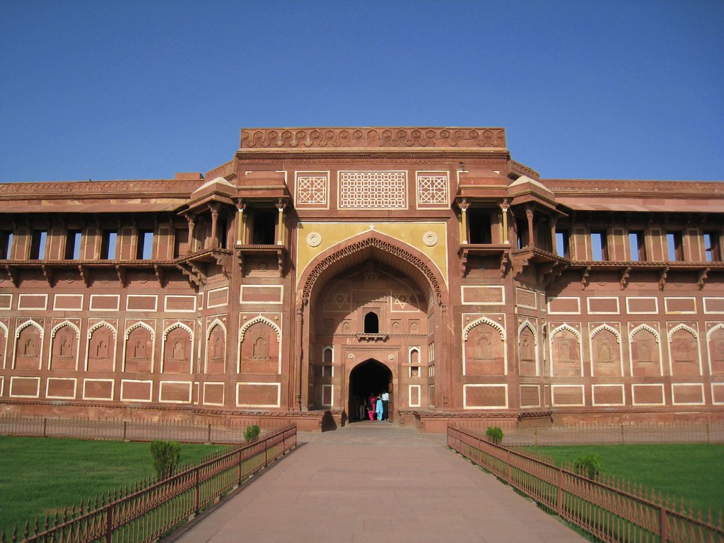 A red wall of the Agra Fort in India