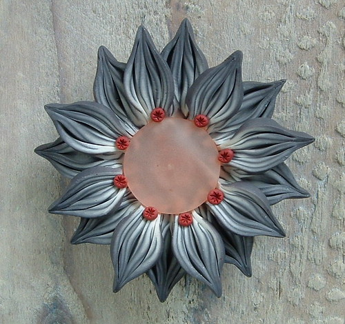 Grey and Pink Flower Pendant