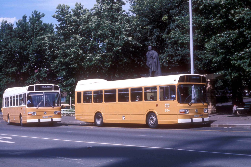 Hobart Leyland Nationals AJ-9746 (604) AL-2955 (623) Macquarie Street, Hobart, Tasmania, Australia.