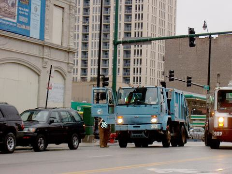 Chicago Department of Streets and Sanitation compact Sterling garbage truck. Chicago Ilinois. November 2006. by Eddie from Chicago