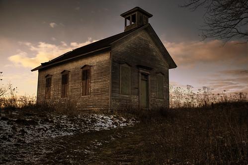 old school house rural nikon michigan down run schoolhouse hdr 18200mm d40
