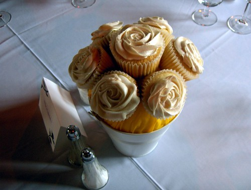 These cupcake centerpieces were created for a close friend 39s wedding