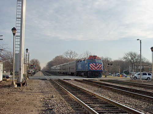 Eastbound Metra commuter local stopping at the Prairie Avenue commuter rail station. Brookfield Illinois. December 2006. by Eddie from Chicago
