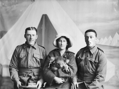 Private Pinkerton, another soldier and friend with a koala