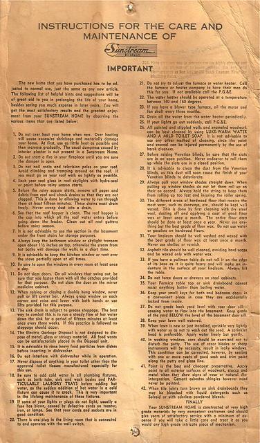 Sunstream Homes Instruction Manual