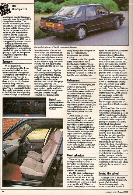 MG Montego EFi Test 1984 3