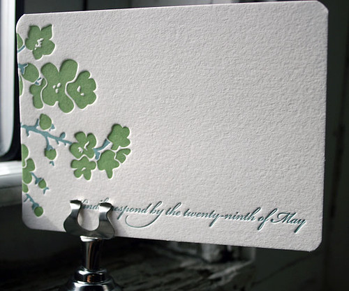 Mimosa cherry blossom letterpress wedding invitations Bella Figura