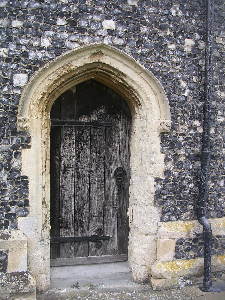 Door Stratford St Mary Church Note the flint Manningtree circular.
