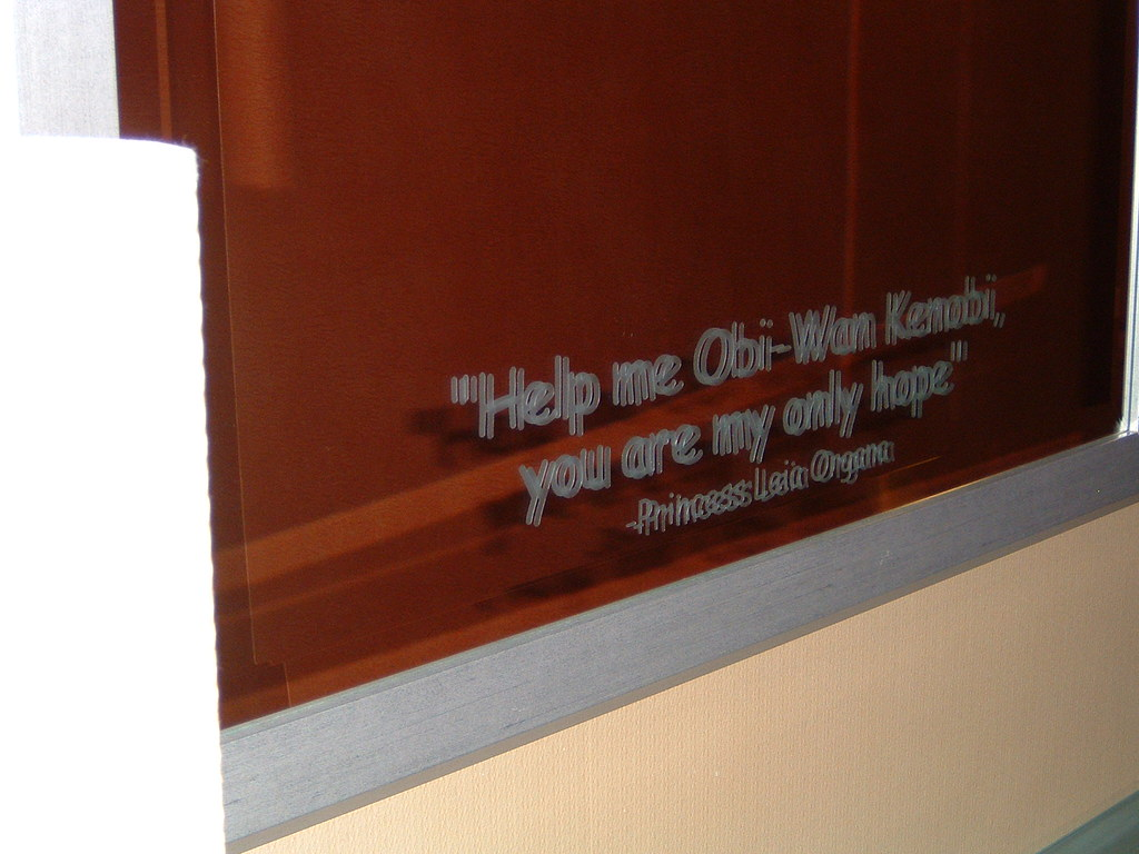 "Cool blurry ""Star Wars"" quote on the ""Sci-Fi Floor"" @ The Curtis!"