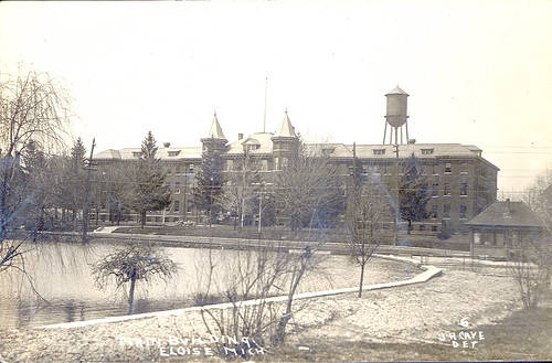 Eloise MI Main Bldg for Eloise Insane Asylum & Poorhouse, Farm & Hospital 1911 RPPC Photographer JH Cave