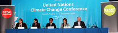 Oxfam's first press conference at UNFCCC in Poznan. Dec. 2, 2008.