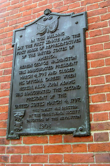 Photo of John Adams and George Washington bronze plaque