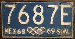 MEXICO, SONORA 1968-69 Truck plate