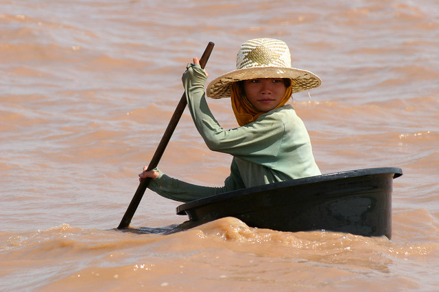 A girl at Tonle Sap lake.