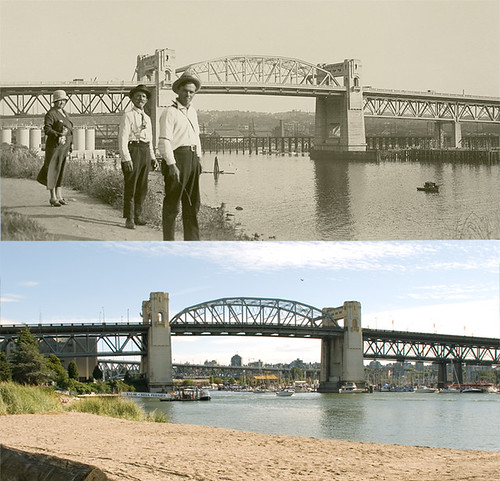 Burrard Bridge; 1932 & 2007 by redpistol