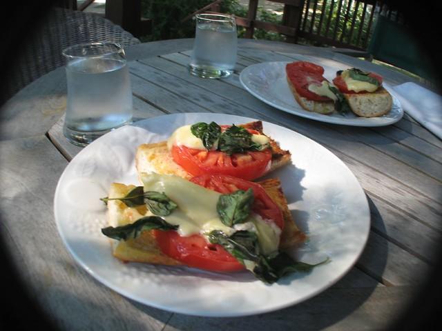 Basil, brie, bread, tomato sandwiches