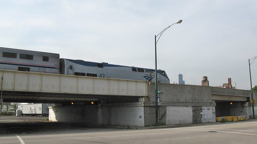 Eastbound Amtrak train on the final leg of it's journey to Chicago Union Station. Chicago Illinois. August 2008. by Eddie from Chicago