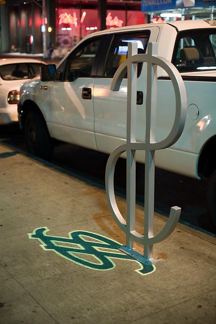 """The Wall Street"" bike rack designed by David Byrne. New York, NY. 2008."