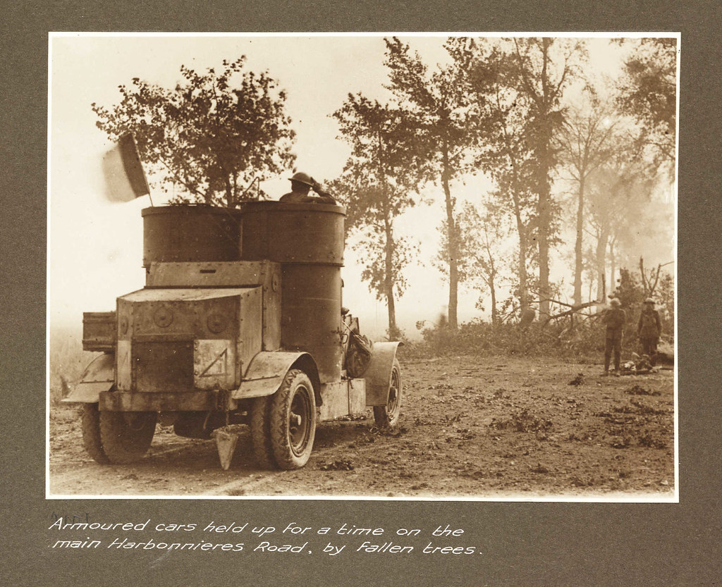 Armoured car held up for a time on the main Harbonnieres Road by fallen trees