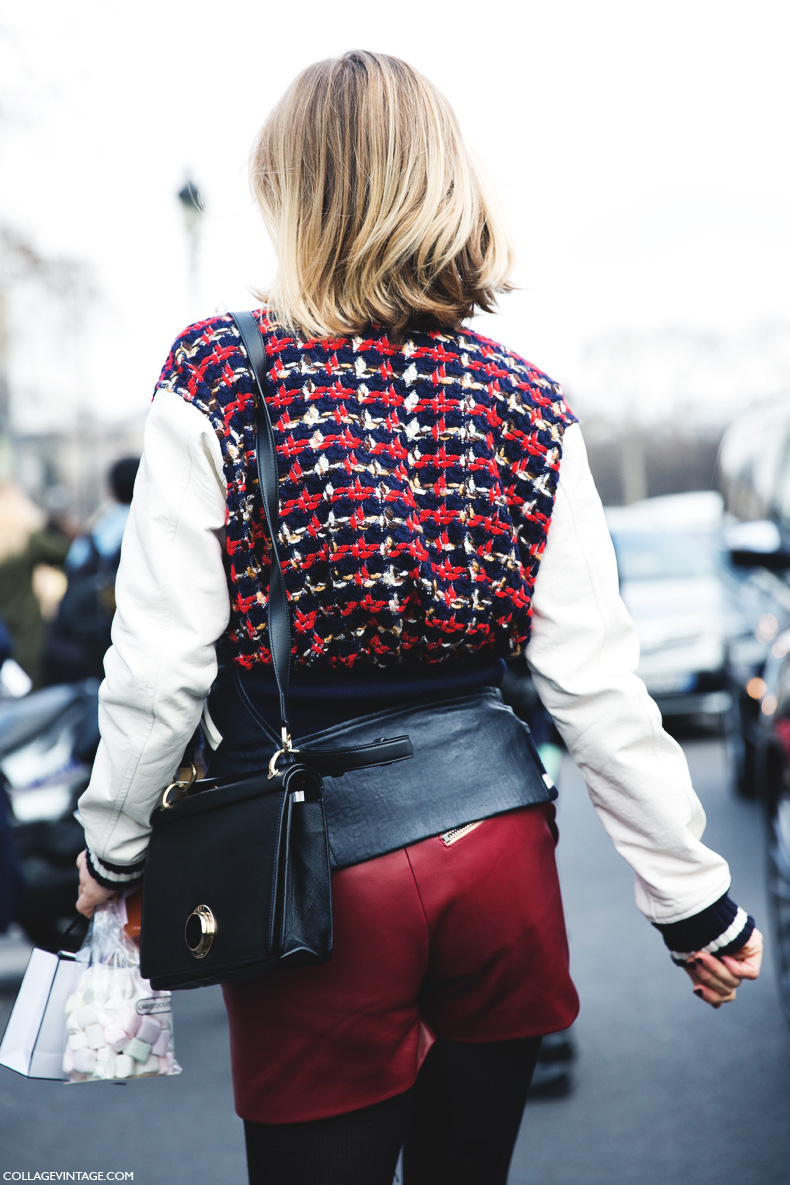 Paris_Fashion_Week_Fall_14-Street_Style-PFW-_Chanel-Tweed_Biker_Jacket-Leather_Shorts