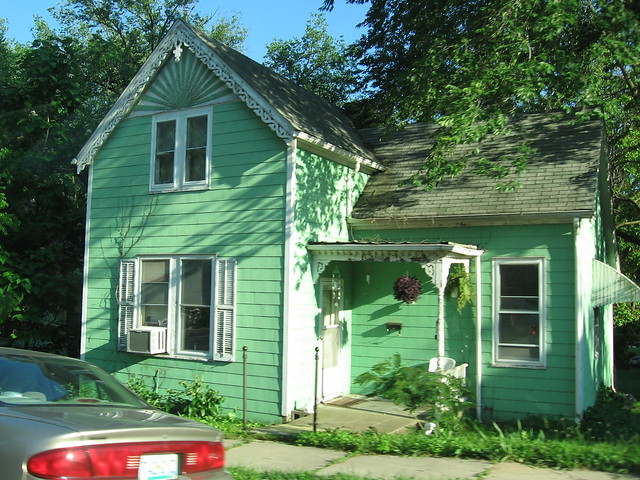 Mint green house with white trim flickr photo sharing - White house green trim ...
