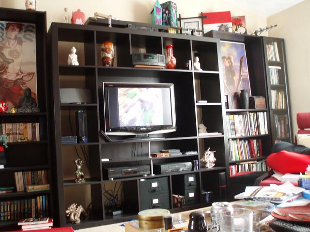 expedit ikea entertainment center. Black Bedroom Furniture Sets. Home Design Ideas