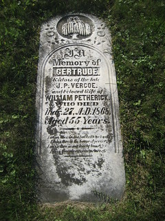 Gertrude (Vercoe) Petherick - buried in 1868 at the South Sparta Cemetery, Yarmouth, Elgin, Ontario, Canada