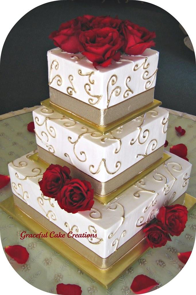 Elegant Ivory and Gold Wedding Cake | Grace Tari | Flickr
