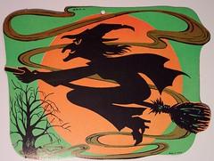 Cartoon witch, Vintage Halloween Diecut Witch