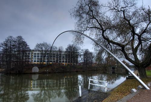 sculpture art river sweden arc sverige hdr linköping stångån östergötland sigma1020mmf456exdchsm johanklovsjö drömmarnasbåge