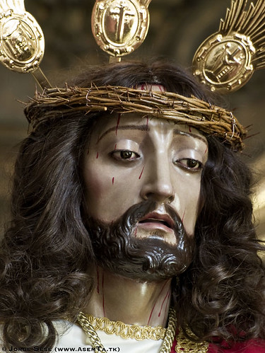 Primer plano de la imagen de Jesús de la Humillación de Zaragoza
