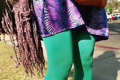 footwear(0.0), human body(0.0), pattern(1.0), textile(1.0), clothing(1.0), purple(1.0), leggings(1.0), limb(1.0), green(1.0), leg(1.0), fashion(1.0), dress(1.0),