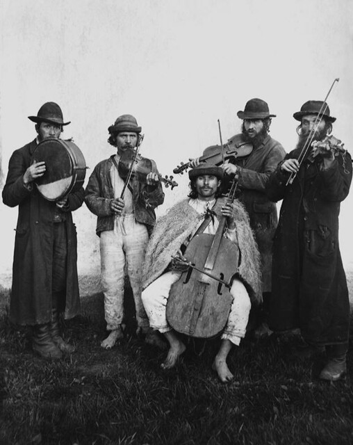 Village orchestra of Ruthenian and Jewish musicians. Verecke, Bereg County, 1895