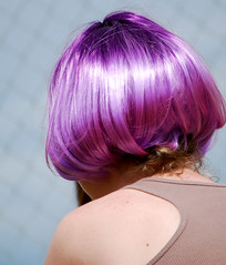 hairstyle, clothing, purple, violet, hair, bob cut, hair coloring, wig,